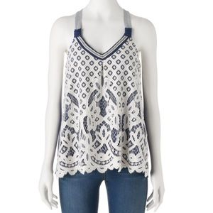 Rewind Navy Tank with Lace Front